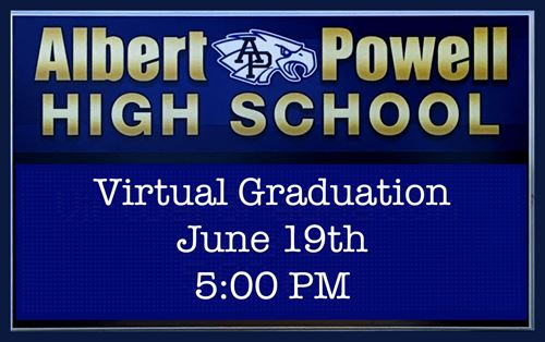 Albert Powell School Marquee announcing virtual graduation